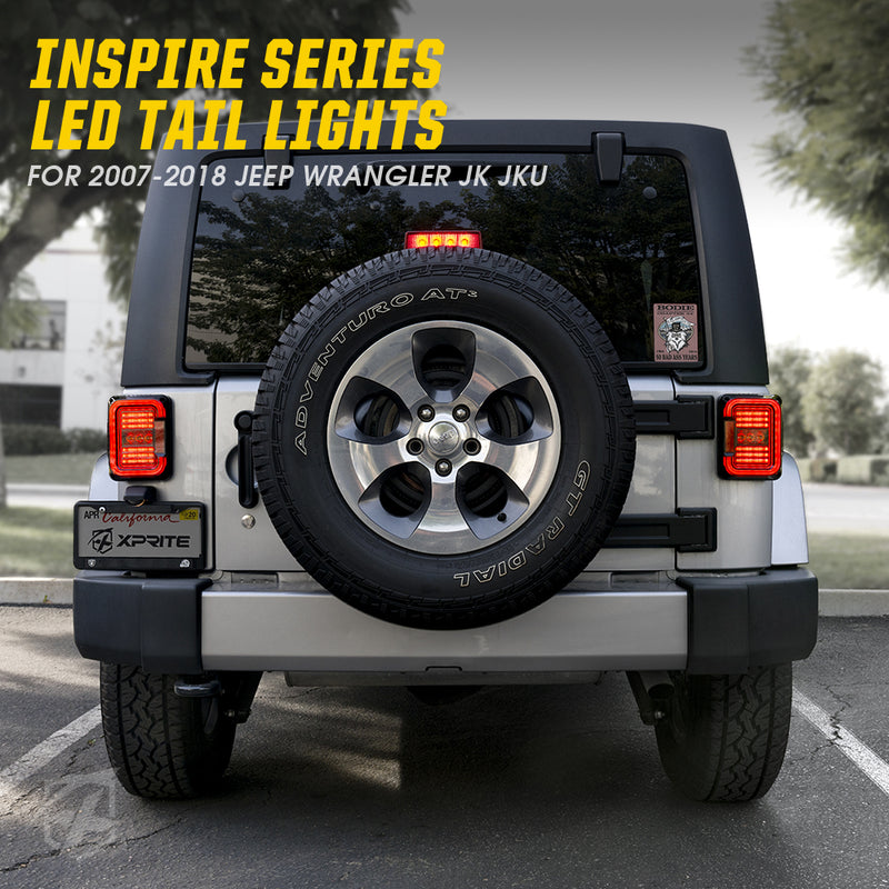 Xprite Inspire Series LED Taillights with Clear Lens For 2007 - 2018 Jeep Wrangler JK