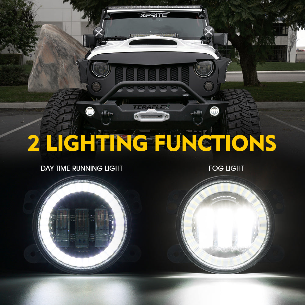 BAOLICY 4 Inch CREE LED Fog Lights with White Halo Ring DRL for 2007-2018 Jeep Wrangler Unlimited JK Driving Off Road Fog Light