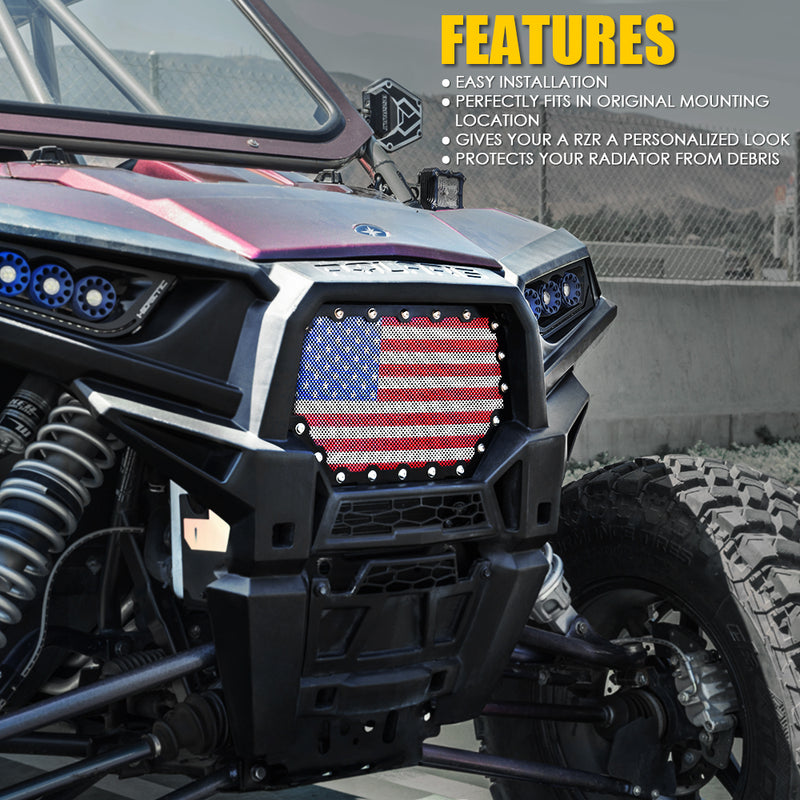 Xprite Black Steel Mesh Grille with U.S. Flag for 2014-2018 Polaris RZR 900 S & 1000 XP