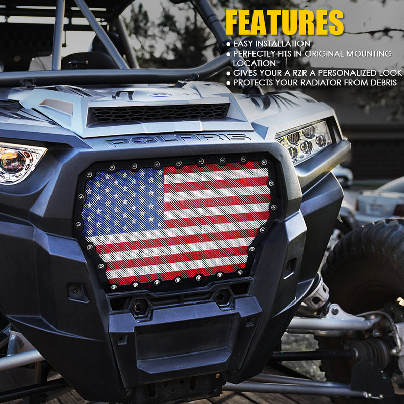 Xprite Black Steel Grille with U.S. Flag Mesh for 2017-2018 Polaris RZR 1000 XP Turbo