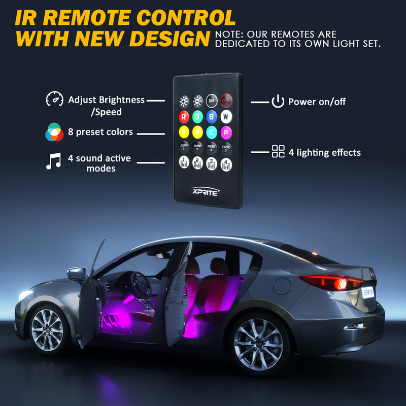 Xprite 4PC Celestial Series Bluetooth and Remote Control RGB LED Interior Car Light Set - Powered by USB