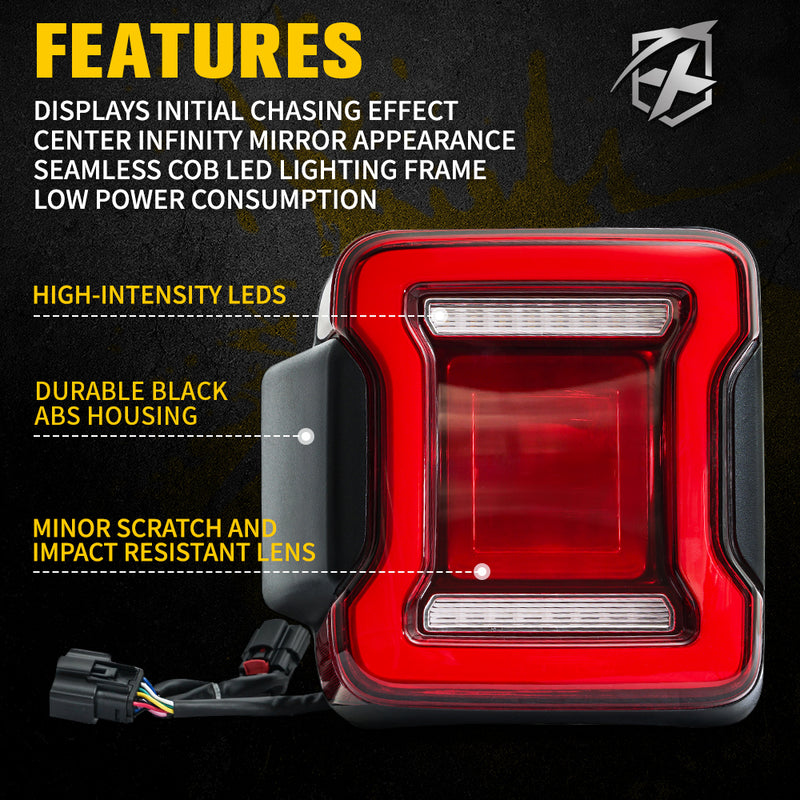 X-Pro Infinity Series LED Taillights with Red Lens For 2018+ Jeep Wrangler JL
