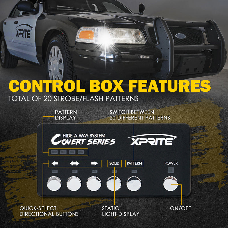Xprite White Amber Covert 4 Series Hide-A-Way LED Strobe Lights