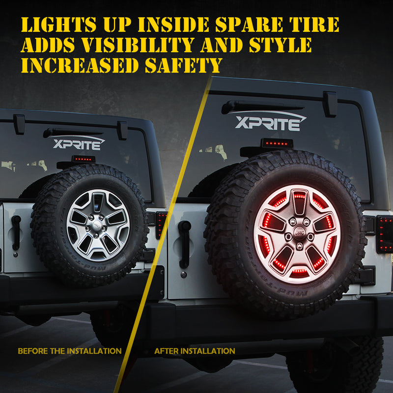 "Xprite 14"" Cyclone Series Spare Tire LED Brake Light For 07-18 Jeep Wrangler"