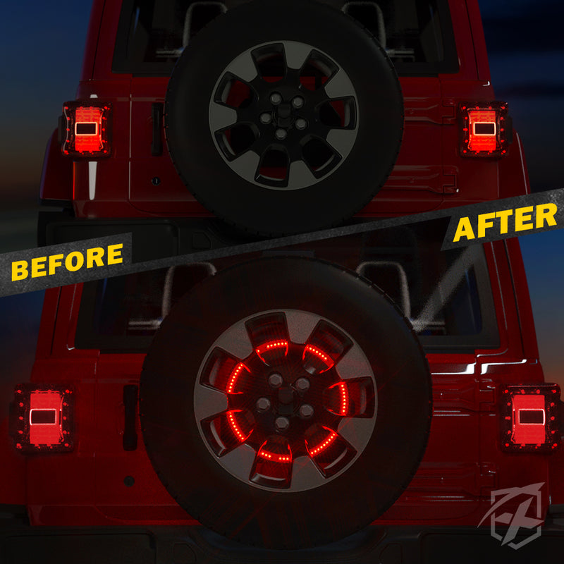 "Xprite 14"" Cyclone Series Spare Tire LED Brake Light For 2018-2020 Jeep Wrangler JL"
