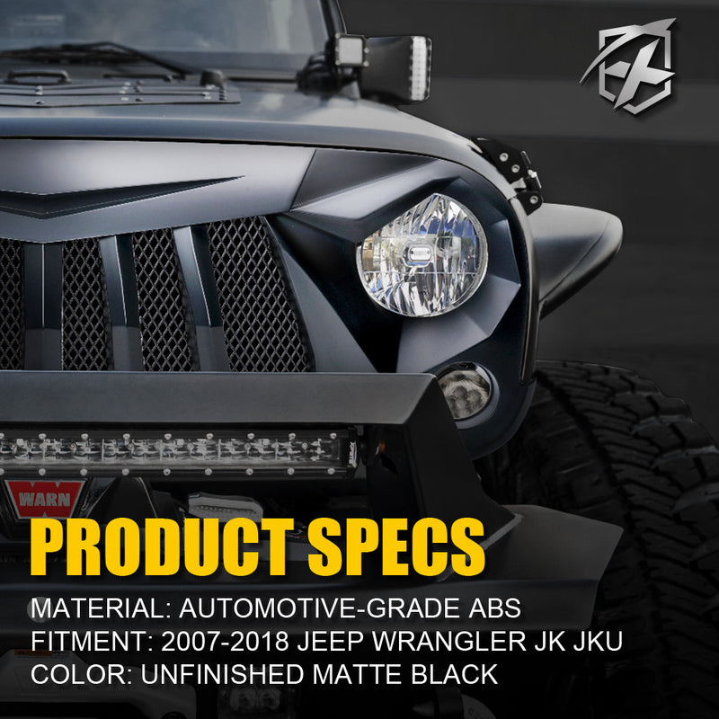Xprite Black Widow Front Grille for 2007-2018 Jeep Wrangler JK JKU