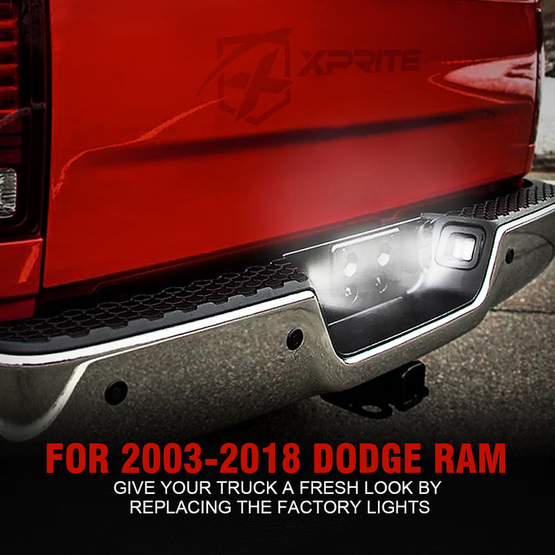 Xprite Black G2 LED License Plate Light Assembly with Smoke Lens For 2003-2018 Dodge Ram