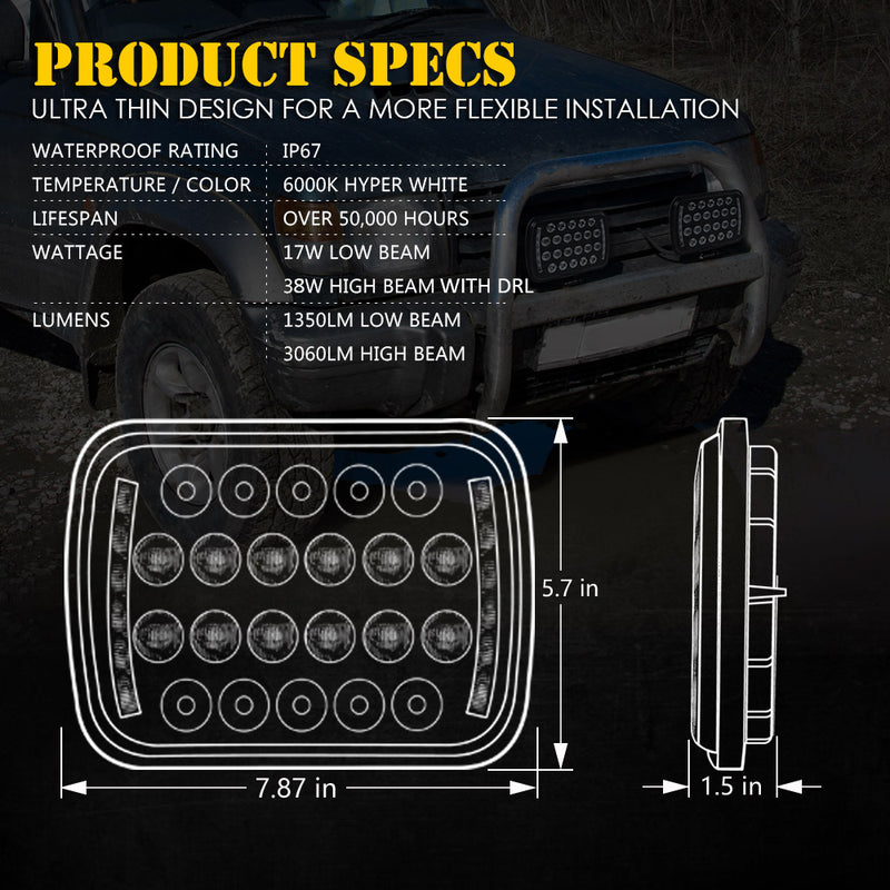 "Xprite 1 Piece Insight Series 5X7"" LED Headlights with High/Low Beam and DRL"
