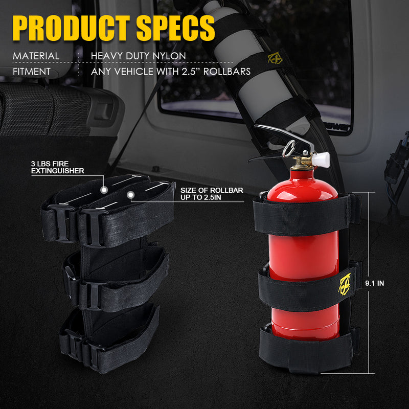 Xprite Black Interior Roll Bar Cage Fire Extinguisher Holder Carrier with Logo