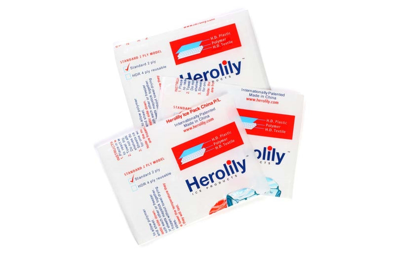 Herolily 100 Pcs Extreme Freeze Reusable 2 Ply Ice & Heat Pack - 5IN x 1 Block
