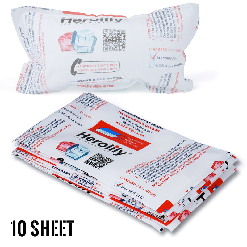 Herolily 10 Sheet Advanced Reusable 2 Ply Ice & Heat Pack - 7IN x 1 Blocks