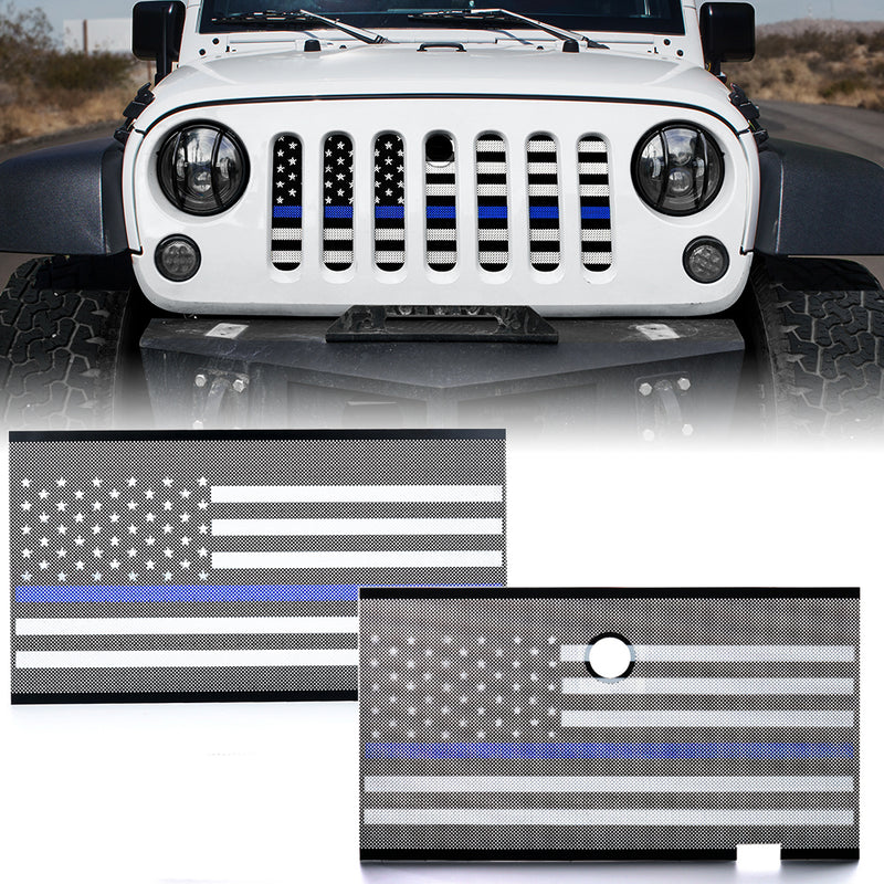 Xprite Mesh Grille Insert with Law Enforcement Blue Stripe For JK 2007-2018 Jeep Wrangler Stock Grille