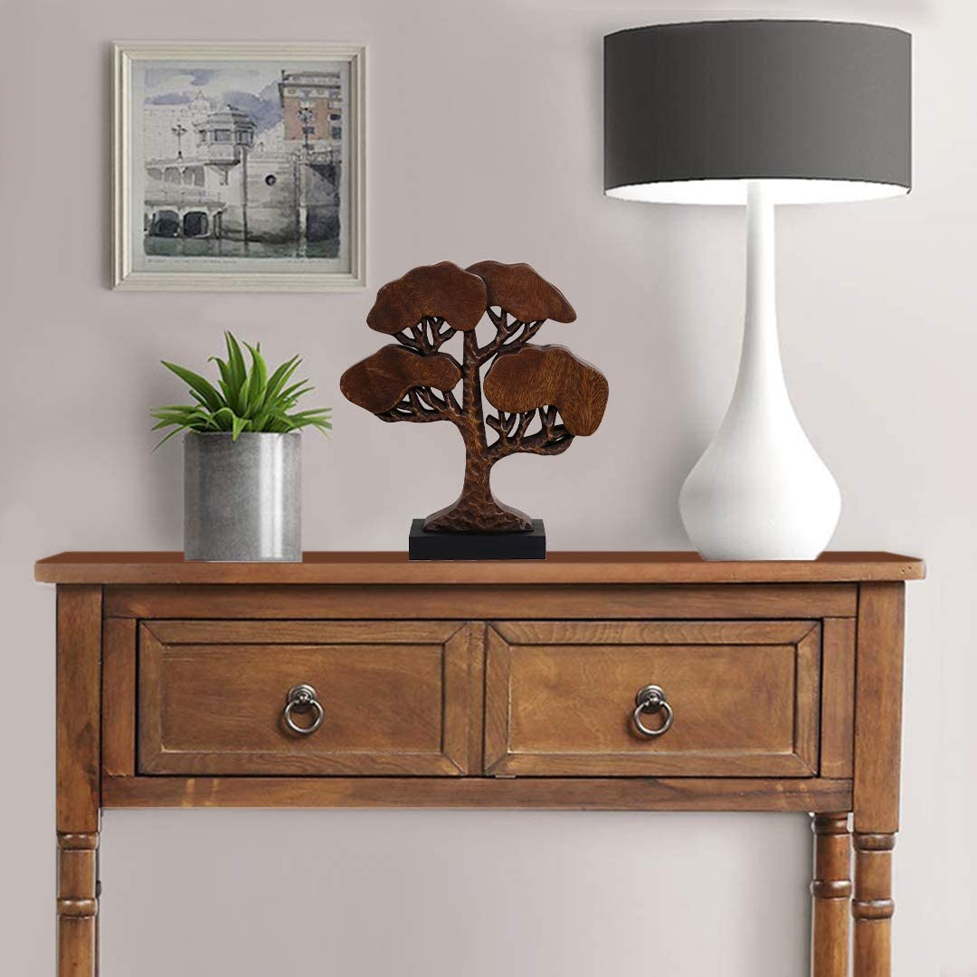 Decozen Handmade Wooden Tree of Life D/écor a Symbol of Growth and Strength Made by Skilled Artisans for Farm House Home Decor Living Rooms Bedroom Kitchen Console Table 4 x 12 x 14 inches