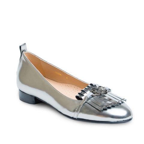 Low Heel Dress Flat Shoes in Mettalic Leather