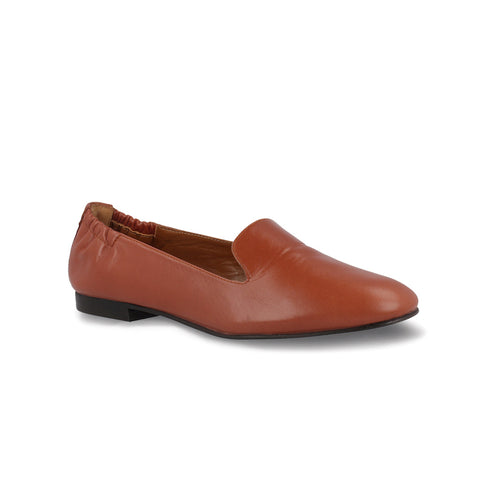 Tan Leather Slip On Flat Shoes for Women