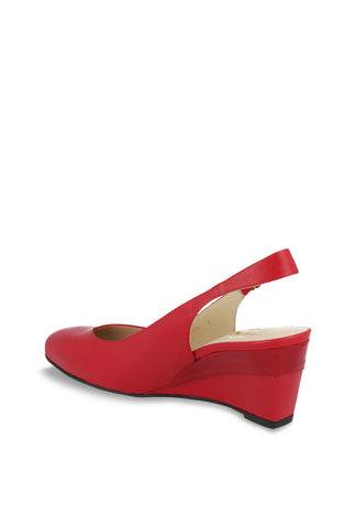 Slingback Wedge Sandal Red leather Party Shoes