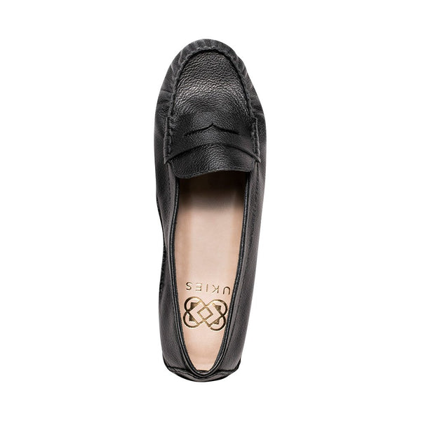 Moccasins - Soft Black Tumbled Leather - UKIES
