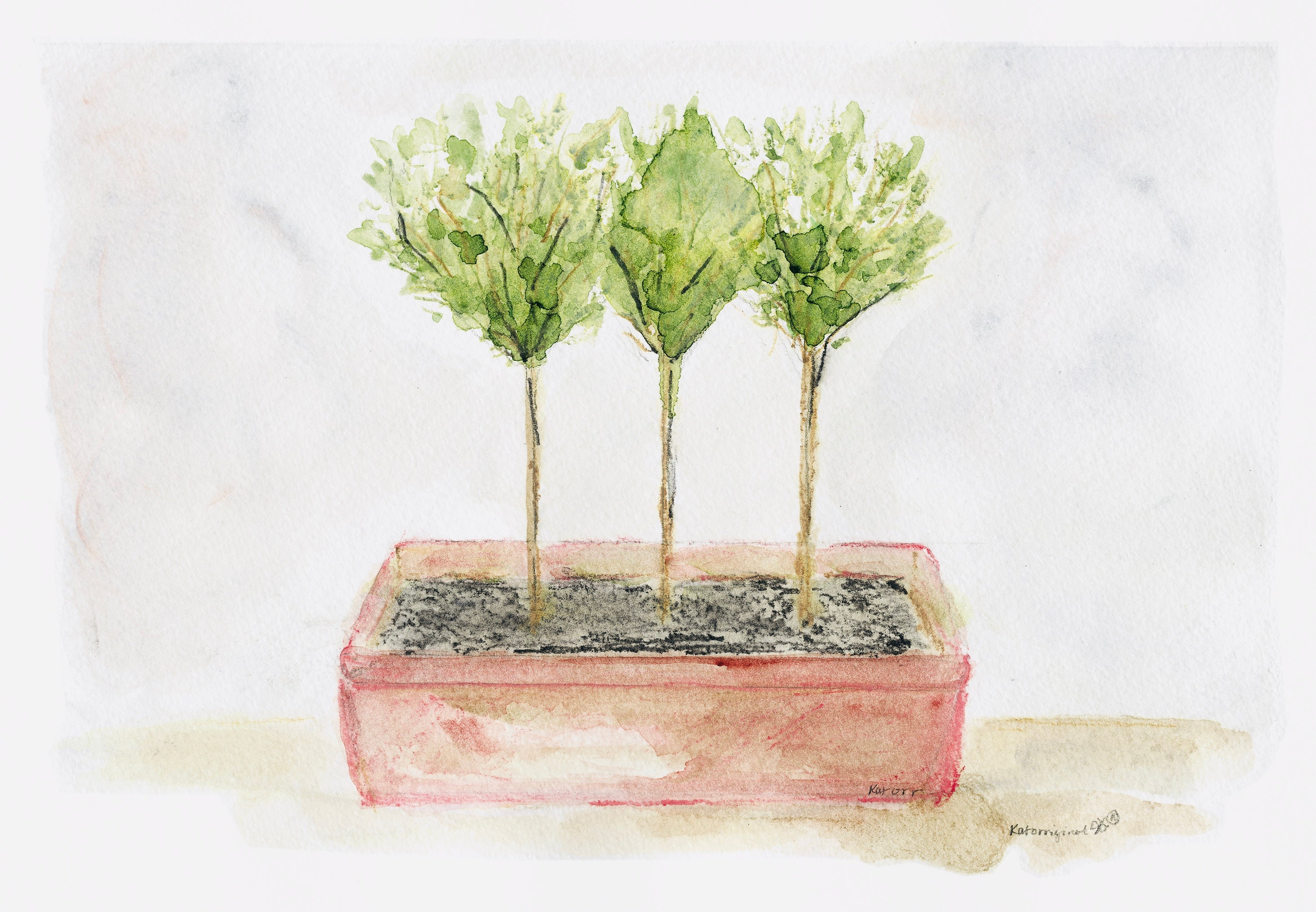 """Triple Topiary"" Original Watercolor Painting"