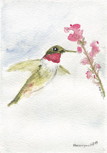 """Hummingbird Inflight"" Original Watercolor Painting"
