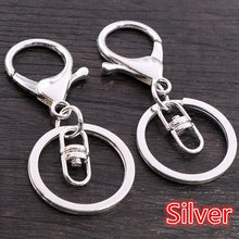 Load image into Gallery viewer, 5pcs/lot 30mm Key Ring Long 70mm Popular classic 11 Colors Plated lobster clasp key hook chain jewelry making for keychain