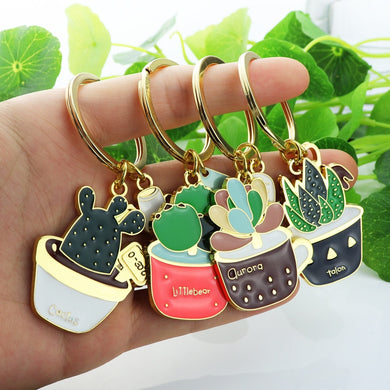 Lovely Cactus Keychain Women Succulent Potted succulent Plants Shaped Keychain Ring Gold Car Key Chains Best Gift for Friend