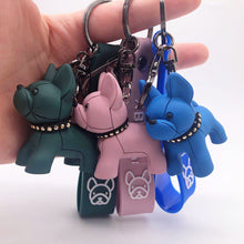Load image into Gallery viewer, Boho Punk Bulldog Keychain Silicone Dog Key Chains for Women Bag Charm Trinket Men Car Key Ring Leather Pendant Liuding Key Ring