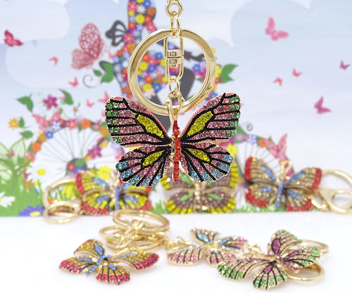 2019 new fashion ornaments colorful butterfly keychain alloy craft car pendant gift lady bag key ring