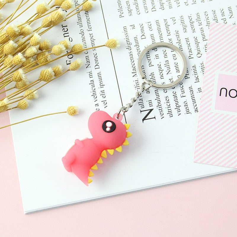 Four Color Cute Cartoon Little Dinosaur Keychain Animal Key chains For Women Bag Charm Key Ring Pendant Gifts A350