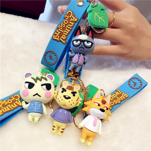 2020 Japan Animal Crossing Silica Gel Keychains Fashion Game Animal Crossing Pendant Keyrings Switch