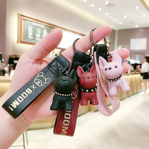 2020 Fashion French Bulldog Keychain Puppy Car Keyring PU Leather Punk Bulldog Key Chains Cute Dog PVC Pendant Bag Charm Trinket