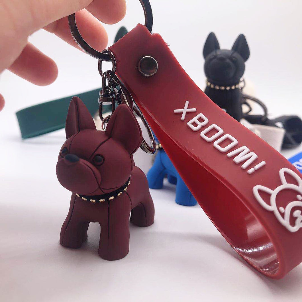 Boho Punk Bulldog Keychain Silicone Dog Key Chains for Women Bag Charm Trinket Men Car Key Ring Leather Pendant Liuding Key Ring