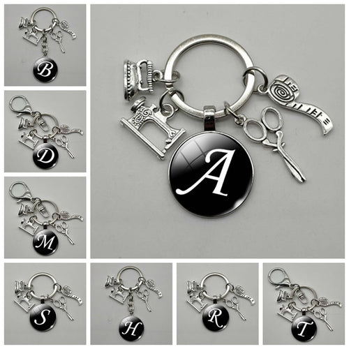2020 Charm Initial A-Z Alloy Sewing Scissors Scissors Keychain Gift Lady Girl Bag Jewelry Keychain Charm Keychain Jewelry