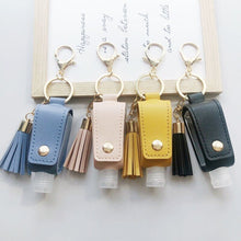 Load image into Gallery viewer, 30ml Empty Bottle Keychain Portable Health Keyring Tassel Free Hand Sanitizer Leather Case Keychain Disinfectant PU Leather Case