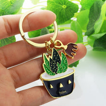 Load image into Gallery viewer, Lovely Cactus Keychain Women Succulent Potted succulent Plants Shaped Keychain Ring Gold Car Key Chains Best Gift for Friend