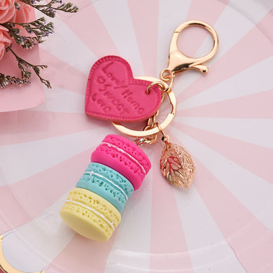 Women New Macaron Cake keychain PU love alloy leaf Key Chain Charm Bag pendant Key Ring Best Party Gift Jewelry K3006
