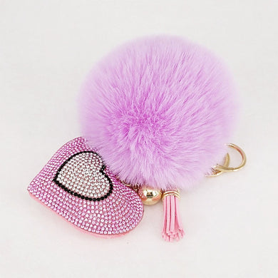 Pompom Keychain Rhinestone Heart Women's Bags Key Ring Handmade Accrssories Keychains Pendants Charming Suspension Decoration