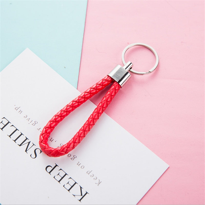Fashion handmade leather rope keychain Car key ring key chain bag pendant accessories