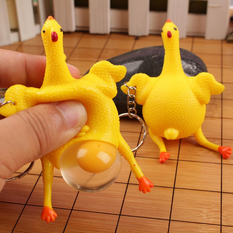 New Funny Spoof Tricky Gadgets Green Dinosaur Beans Toy Chicken Egg Laying Hens Crowded Stress Ball Keychain Keyring Relief Gift