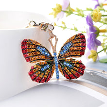 Load image into Gallery viewer, 2019 new fashion ornaments colorful butterfly keychain alloy craft car pendant gift lady bag key ring