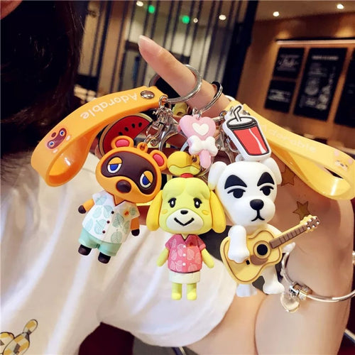 2020 Animal Crossing Son Doll Car Keychain Korea Men Women Lovers Key Chain Pendant Small Cute Keyring Accessories Gift Switch