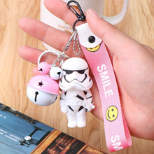 Load image into Gallery viewer, and White Samurai Keychain Baby Car Bag Key Chain Cute Keyring Creative Cartoon Mobile Phone Pendant Star Wars Black Punk Face