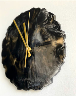clock, wall clock, black and gold marble clock