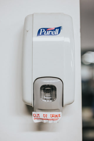 empty-purell-sanitizer-dispenser-due-to-no-cartridge