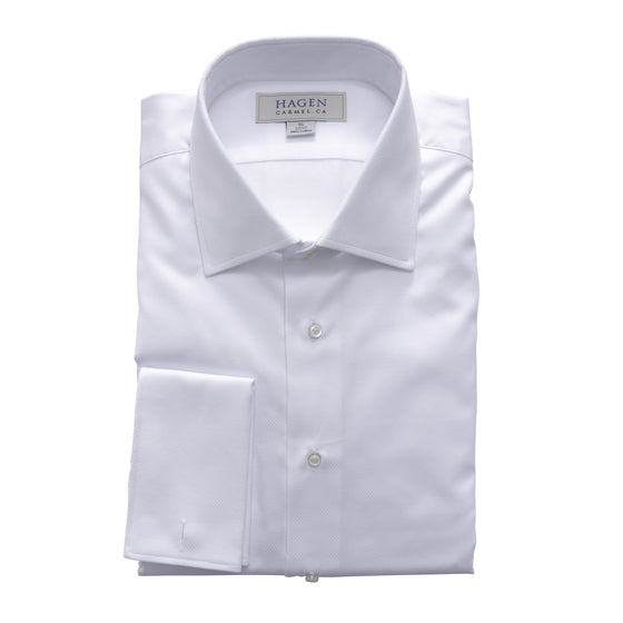 FRENCH CUFF DRESS SHIRT IN WHITE DOBBY