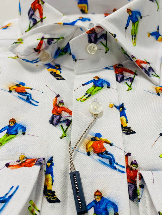 WHITE TWILL SKIERS PRINT SHIRT