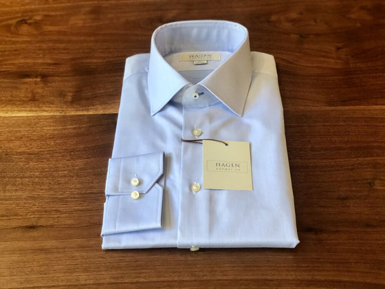 BLUE SUPER FINE TWILL DRESS SHIRT