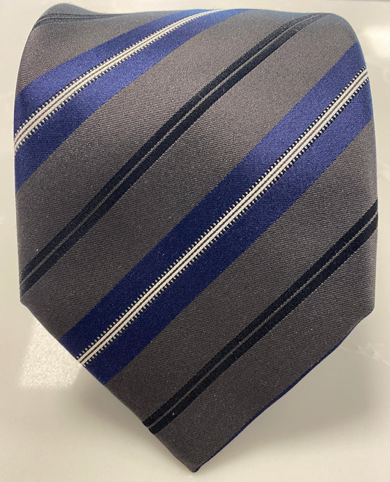 TALL REGIMENTAL STRIPED NECKTIE GREY