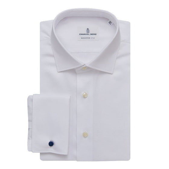 WHITE TWILL FRENCH CUFF DRESS SHIRT