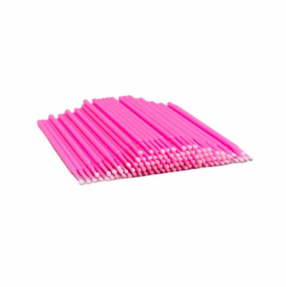 Disposable Applicators, Neon Pink Microbrush Swabs, 200 Pieces/Pack