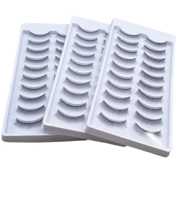 30 Pairs / 3 Bulks Practice Lashes for Eyelash Extensions, Self-adhesive Lash Strips